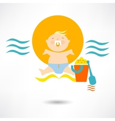 Child on a beach vector