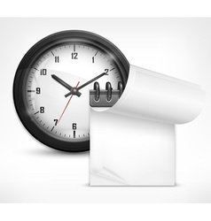 clock and notebook vector image vector image