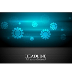 Contrast blue and black tech background with gears vector