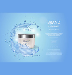 Cream box on a blue background with water splash vector