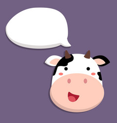 Cute cow talking with speech bubble vector