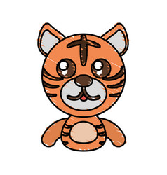 Draw tiger animal comic vector