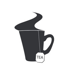Emblem of a cup of tea with a sachet and a steam vector