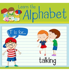 Flashcard letter T is for talking vector image
