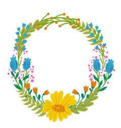 Flowers set beautiful wreath elegant vector