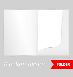 Fold realistic mockup design with shadow effect vector