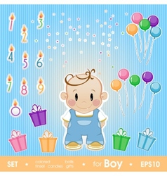 Gala set for boy set for birthday candles gifts vector