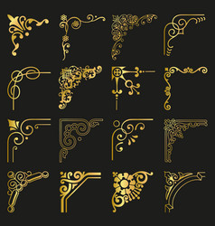 gold vintage design elements corners and borders vector image vector image