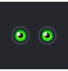 Green cartoon eyes on dark background vector