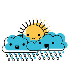 kawaii sun and cloud with rain in watercolor vector image vector image
