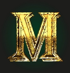 m golden letter vector image vector image