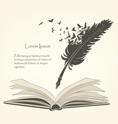 old feather with flying birds and open book vector image