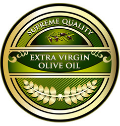 Olive oil gold label vector