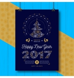 Poster happy new year 2017 party flyer chinese vector