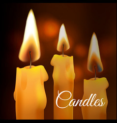Realistic flame wax church candle set on vector