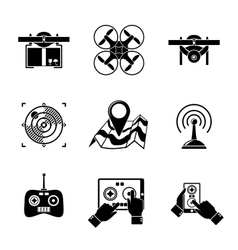 Set of drone icons - with box top view vector