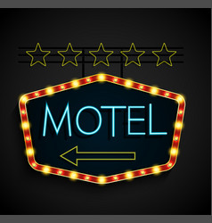 shining retro light banner motel on a black vector image vector image