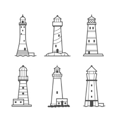Simple icon or logo set of lighthouses vector