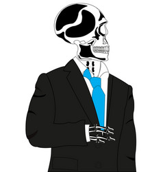 skeleton in suit vector image vector image