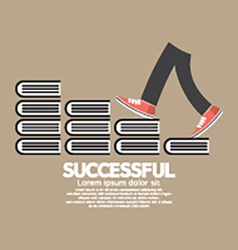 Step up walking on books successful concept vector