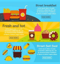 street fast food banner horizontal set flat style vector image