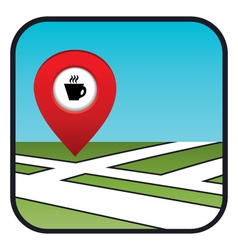 Street map icon with the pointer coffee shops vector image
