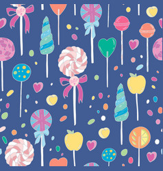 sweet hand drawn lollipops seamless pattern vector image
