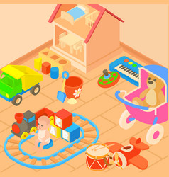 Toys room concept cartoon style vector