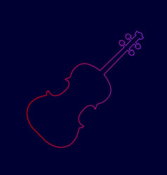 violine sign line icon with vector image