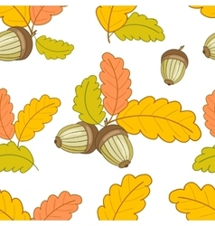 white pattern with leaves and acorns-01 vector image