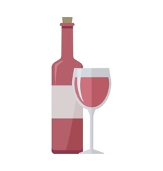 Bottle of Rose Wine and Glass Isolated on White vector image