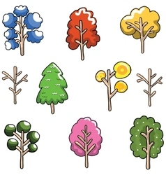 Doodle of Unique tree set collection vector image