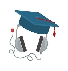 headphones with graduation cap vector image