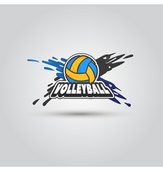 Ball symbol volleyball logo badge sport emblem vector