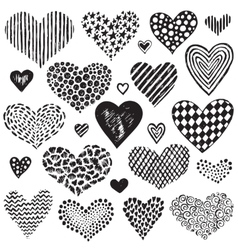 Collection of hand drawn sketch hearts vector
