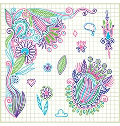 hand draw doodle flower element vector image