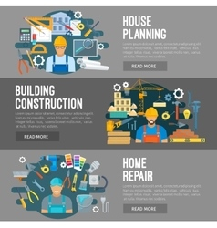 House building construction repair flat banners vector