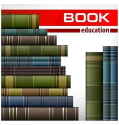 Book stacks on white vector