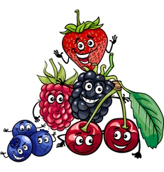 Berry fruits group cartoon vector