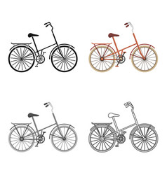 A red bicycle with wheels and basket the eco vector