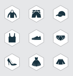 Dress icons set collection of sweatshirt trunks vector