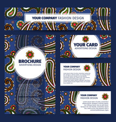 Corporate identity design with paisley pattern vector