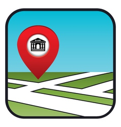 Street map icon with the pointer bank vector image