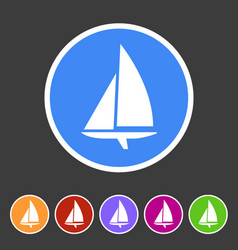 Sailing boat yacht icon flat web sign symbol logo vector