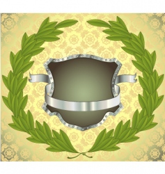 Shield with ribbon and wreath vector