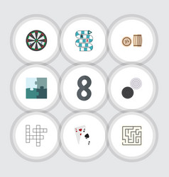 Flat icon games set of arrow jigsaw lottery and vector