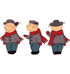 A boys in a winter coat and a cap cartoon vector