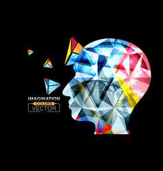 Human head geometric colorful shape vector