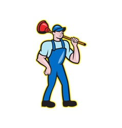 Plumber Holding Plunger Standing Cartoon vector image