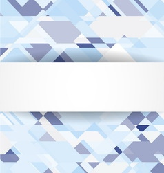 Blue geometric background with white banner vector